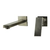 Brushed Nickel Single Lever Wallmount Bathroom Faucet, Height: 7-1/2'' H, Spout Reach: 7-1/2'' D