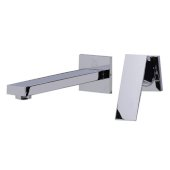 Polished Chrome Single Lever Wallmount Bathroom Faucet, Height: 7-1/2'' H, Spout Reach: 7-1/2'' D