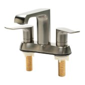 ALFI brand Two-Handle 4'' Centerset Bathroom Faucet in Brushed Nickel, Faucet Height: 5-1/8'' H, Spout Reach: 4-3/4'' D, Spout Height: 4-1/8'' H