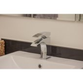 Polished Chrome Single Lever Bathroom Faucet, Height: 6-1/8'' H, Spout Height: 3-1/2'' H, Spout Reach: 4-3/4'' D