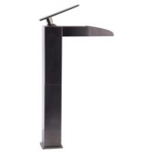 Brushed Nickel Single Hole Tall Waterfall Bathroom Faucet, Height: 14-7/8'' H, Spout Height: 7-5/8'' H, Spout Reach: 4-1/2'' D