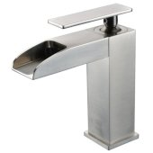 Brushed Nickel Single Hole Waterfall Bathroom Faucet, Height: 6-5/16'' H, Spout Height: 4-7/16'' H, Spout Reach: 3-21/32'' D
