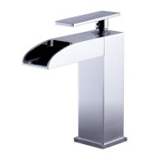Polished Chrome Single Hole Waterfall Bathroom Faucet, Height: 6-5/16'' H, Spout Height: 4-7/16'' H, Spout Reach: 3-21/32'' D