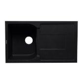 Black 34'' Single Bowl Granite Composite Kitchen Sink with Drainboard, 33-7/8'' W x 19-3/4'' D x 9-1/16'' H