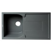 ALFI brand 34'' Single Bowl Granite Composite Kitchen Sink with Drainboard in Titanium, 33-7/8'' W x 19-3/4'' D x 9-1/16'' H