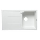 White 34'' Single Bowl Granite Composite Kitchen Sink with Drainboard, 33-7/8'' W x 19-3/4'' D x 9-1/16'' H
