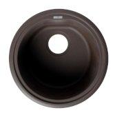 ALFI brand 17'' Drop-In Round Granite Composite Kitchen Prep Sink in Chocolate, 17'' Diameter x 8-1/4'' H