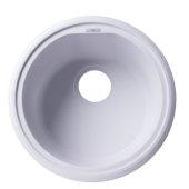 White 17'' Drop-In Round Granite Composite Kitchen Prep Sink, 17'' Diameter x 8-1/4'' H