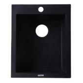 Black 17'' Drop-In Rectangular Granite Composite Kitchen Prep Sink, 16-1/8'' W x 19-7/8'' D x 8-1/4'' H