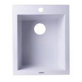 White 17'' Drop-In Rectangular Granite Composite Kitchen Prep Sink, 16-1/8'' W x 19-7/8'' D x 8-1/4'' H