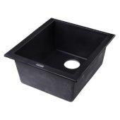 Black 17'' D Undermount Rectangular Granite Composite Kitchen Prep Sink, 16-1/8'' W x 17'' D x 8-1/4'' H