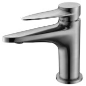 Brushed Nickel Modern Single Hole Bathroom Faucet, Height: 6-3/32'' H, Spout Height: 3-25/32'' H, Spout Reach: 4-9/32'' D