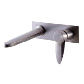 Brushed Nickel Wall Mounted Modern Bathroom Faucet, 7-7/8'' W x 8-1/4'' D x 5-1/4'' H, Spout Reach: 7-9/32'' D