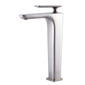 Brushed Nickel Tall Single Hole Modern Bathroom Faucet, Height: 10-15/16'' H, Spout Height: 9-1/4'' H, Spout Reach: 5-9/32'' D