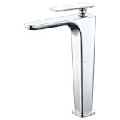 Polished Chrome Tall Single Hole Modern Bathroom Faucet, Height: 10-15/16'' H, Spout Height: 9-1/4'' H, Spout Reach: 5-9/32'' D