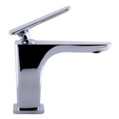 Polished Chrome Single Hole Modern Bathroom Faucet, Height: 5-13/32'' H, Spout Height: 3-23/32'' H, Spout Reach: 4-7/32'' D
