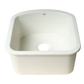 ALFI brand 17'' Fireclay Undermount D-Shaped Kitchen Sink in White, 17-5/8'' W x 17-5/8'' D x 8-5/8'' H