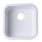 ALFI brand Square Fireclay Undermount or Drop In Prep / Bar Sink in White, 18-1/8'' W x 18-1/8'' D x 8-3/8'' H