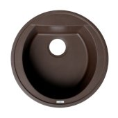 ALFI brand 20'' Drop-In Round Granite Composite Kitchen Prep Sink in Chocolate, 20-1/8'' Diameter x 8-1/4'' H