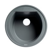 ALFI brand 20'' Drop-In Round Granite Composite Kitchen Prep Sink in Titanium, 20-1/8'' Diameter x 8-1/4'' H