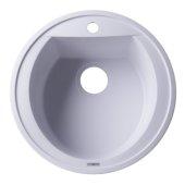 White 20'' Drop-In Round Granite Composite Kitchen Prep Sink, 20'' Diameter x 8'' H