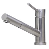Solid Brushed Stainless Steel Pull Out Single Hole Kitchen Faucet, 6-1/2'' H