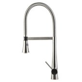 Brushed Gooseneck Single Hole Faucet with Spray Head in Stainless Steel, 22'' H