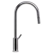 Solid Polished Stainless Steel Single Hole Pull Down Kitchen Faucet, 16-7/8'' H