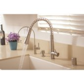 Solid Stainless Steel Commercial Spring Kitchen Faucet with Pull Down Shower Spray, 17-1/8'' H