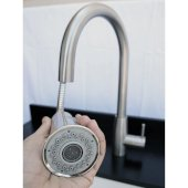 Solid Brushed Stainless Steel Pull Down Single Hole Kitchen Faucet, 17-1/8'' H