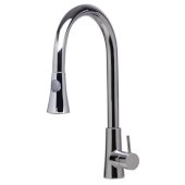Solid Polished Stainless Steel Pull Down Single Hole Kitchen Faucet, 17-1/8'' H