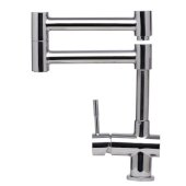 Solid Polished Stainless Steel Retractable Single Hole Kitchen Faucet, 12-1/8'' H