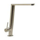 Round Modern Brushed Stainless Steel Kitchen Faucet, 10-3/8'' H