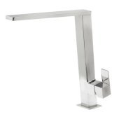 Square Modern Polished Stainless Steel Kitchen Faucet, 10-3/8'' H