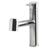 Polished Stainless Steel Kitchen Faucet /w Pull-Out Spray, 9-1/8'' W x 9-1/8'' H