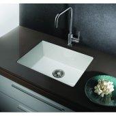 ALFI brand 23'' Fireclay Undermount Kitchen Sink in White, 23-1/4'' W x 17-1/4'' D x 8-1/2'' H