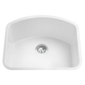 ALFI brand 24'' Fireclay Undermount D-Shaped Kitchen Sink in White, 23-5/8'' W x 21-1/4'' D x 10-5/8'' H