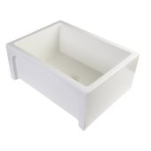 24'' Biscuit Arched Apron Thick Wall Fireclay Single Bowl Farm Sink, 23-5/8'' W x 18'' D x 10'' H