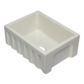 24'' Biscuit Reversible Smooth / Fluted Single Bowl Fireclay Farm Sink, 24'' W x 18-1/8'' D x 10'' H