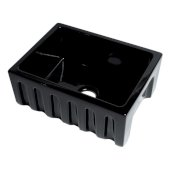 ALFI brand 24'' Reversible Smooth / Fluted Single Bowl Fireclay Farm Sink in Black Gloss, 24'' W x 18-1/8'' D x 10'' H