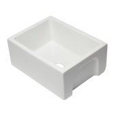 24'' White Reversible Smooth / Fluted Single Bowl Fireclay Farm Sink, 24'' W x 18-1/8'' D x 10'' H