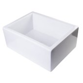 24'' White Smooth Thick Wall Fireclay Single Bowl Farm Sink, 23-5/8'' W x 18'' D x 10'' H