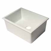 ALFI Brand AB2418UD 24''W White Undermount or Drop-In Fireclay Kitchen Sink, 24-1/8''W x 18-1/8''D x 10''H