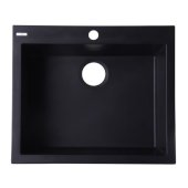 Black 24'' Drop-In Single Bowl Granite Composite Kitchen Sink, 23-5/8'' W x 20-1/8'' D x 8-1/4'' H