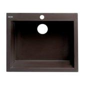 ALFI brand 24'' Drop-In Single Bowl Granite Composite Kitchen Sink in Chocolate, 23-5/8'' W x 20-1/8'' D x 8-1/4'' H