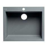 ALFI brand 24'' Drop-In Single Bowl Granite Composite Kitchen Sink in Titanium, 23-5/8'' W x 20-1/8'' D x 8-1/4'' H