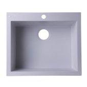 White 24'' Drop-In Single Bowl Granite Composite Kitchen Sink, 23-5/8'' W x 20-1/8'' D x 8-1/4'' H