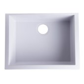 White 24'' Undermount Single Bowl Granite Composite Kitchen Sink, 23-5/8'' W x 16-7/8'' D x 8-1/4'' H