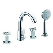 ALFI brand Deck Mounted Tub Filler with Hand Held Showerhead in Polished Chrome, Faucet Height: 13-5/8'' H, Spout Reach: 9-1/8'' D, Spout Height: 10'' H