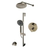 ALFI brand Round Style 2-Way Thermostatic Shower Set in Brushed Nickel, Shower Height: 23-1/8'' H, Spout Reach: 16-3/4'' D